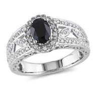 Amour 1/5 Carat T.W. Diamond and 1 Carat T.G.W. Black Sapphire Fashion Ring in Sterling Silver I3 at Kmart.com