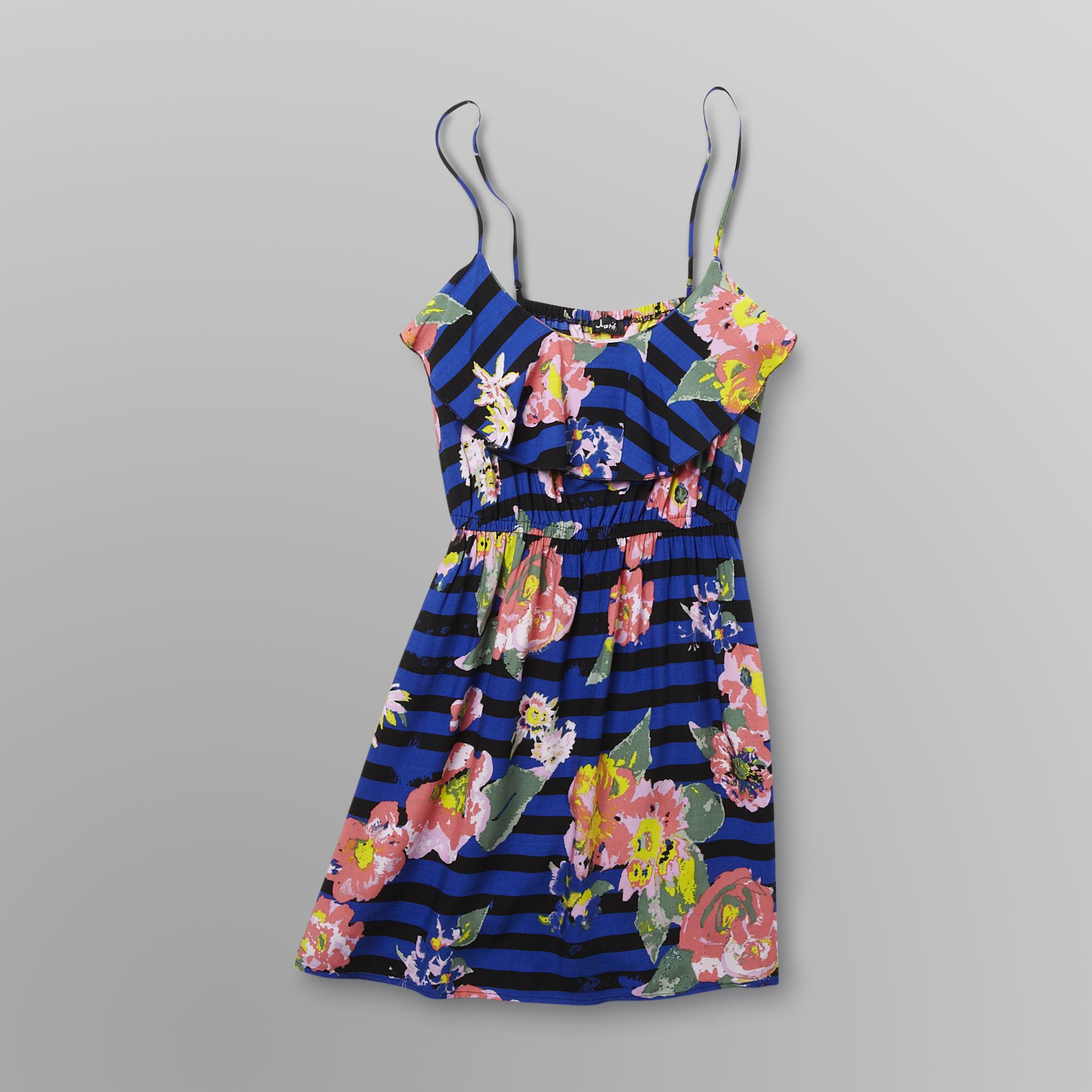 Justify Junior's Ruffle-Front Dress - Stripes/Flowers at Sears.com