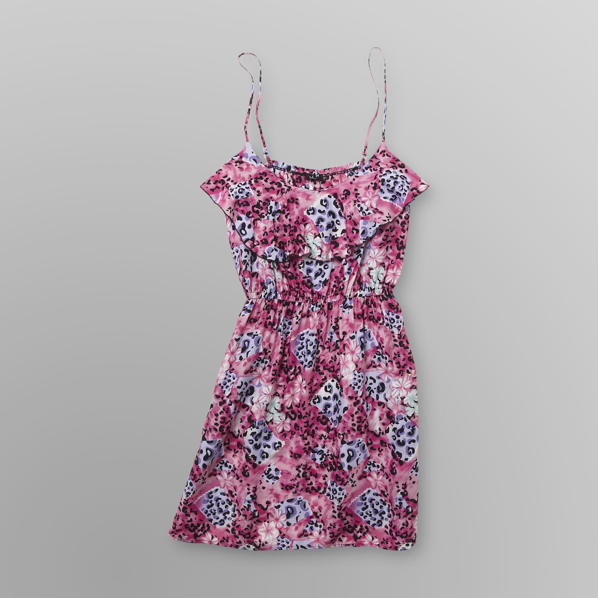 Justify Junior's Ruffle-Front Dress - Animal/Floral Print at Sears.com
