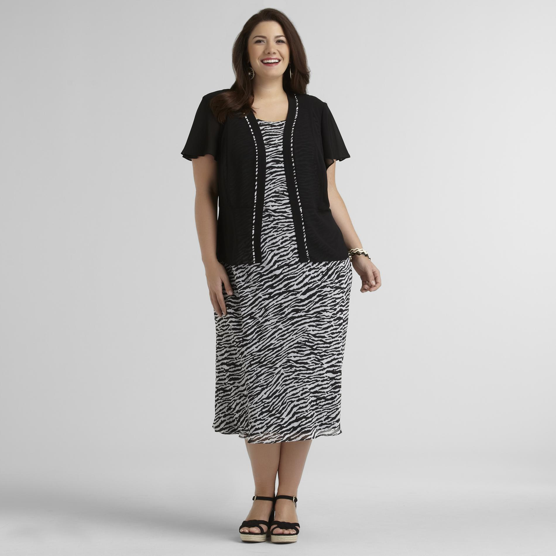Studio 1 Women's Plus Georgette Dress & Jacket - Zebra at Sears.com