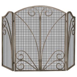 UniFlame 3 Fold Venetian Bronze Screen with Decorative Scrollwork