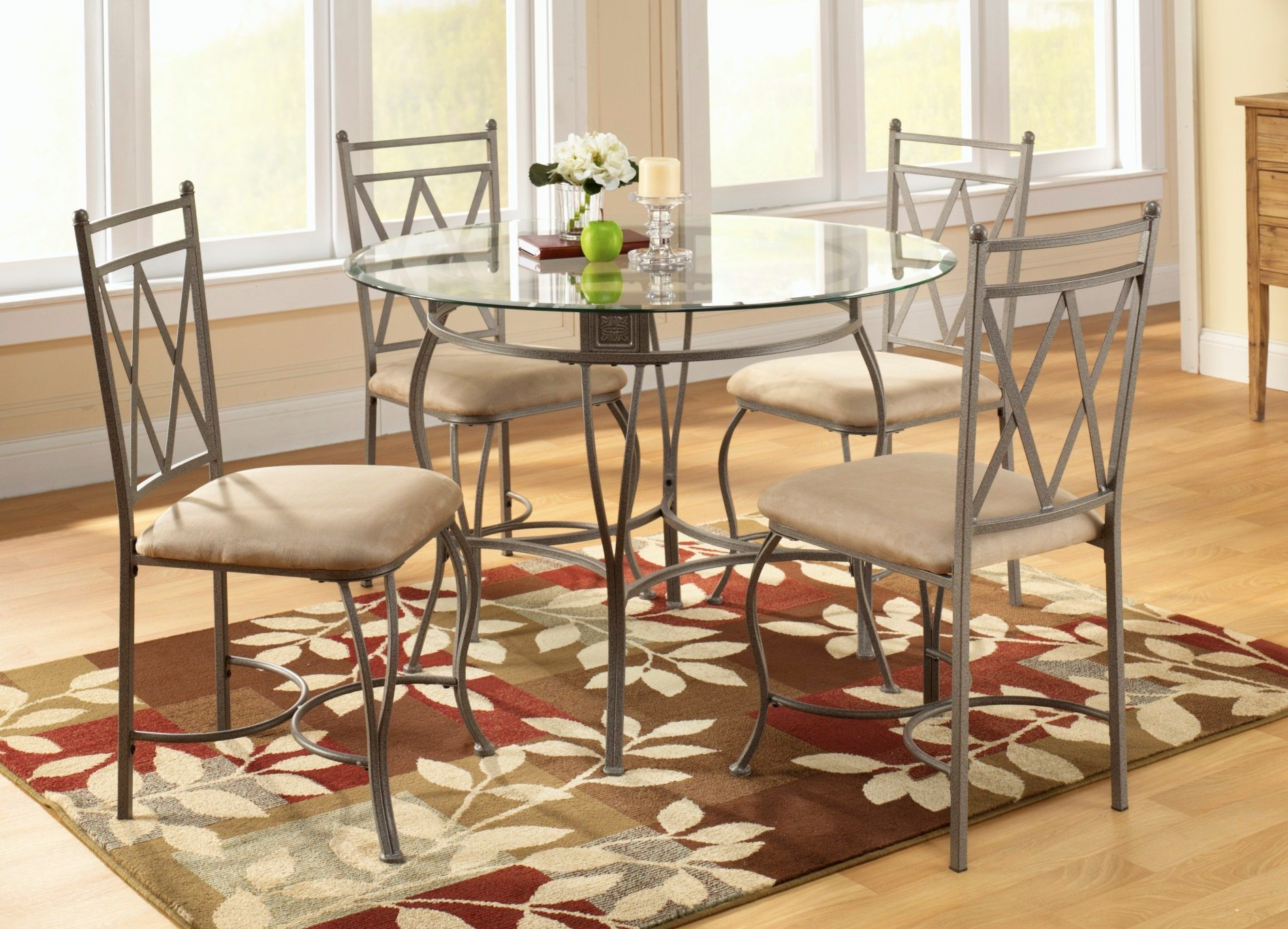 5pc Metal and Glass dining Set