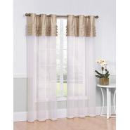 "Essential Home Fantasy 54x84"" Matte Sheer Panel with Pleated Top Faux Silk Valance - Taupe at Kmart.com"