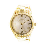 Beverly Hills Polo Club Men's Round Gold Case, Silver-Tone Dial, Gold Bracelet Watch at Kmart.com