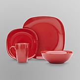 Essential Home 16-Piece Solid Color Dinnerware Set- Soft Square at mygofer.com
