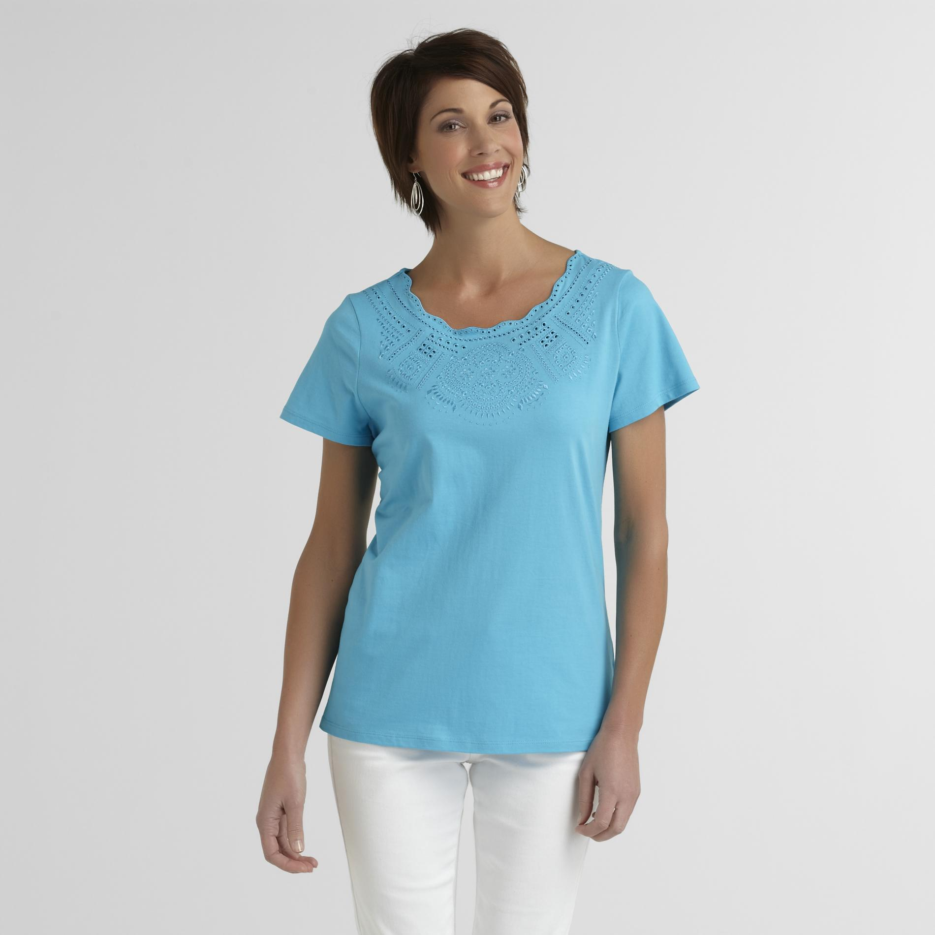 Laura Scott Women's Crochet-Neck T-Shirt at Sears.com
