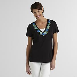 Laura Scott Women's Split-Neck T-Shirt - Hibiscus at Sears.com