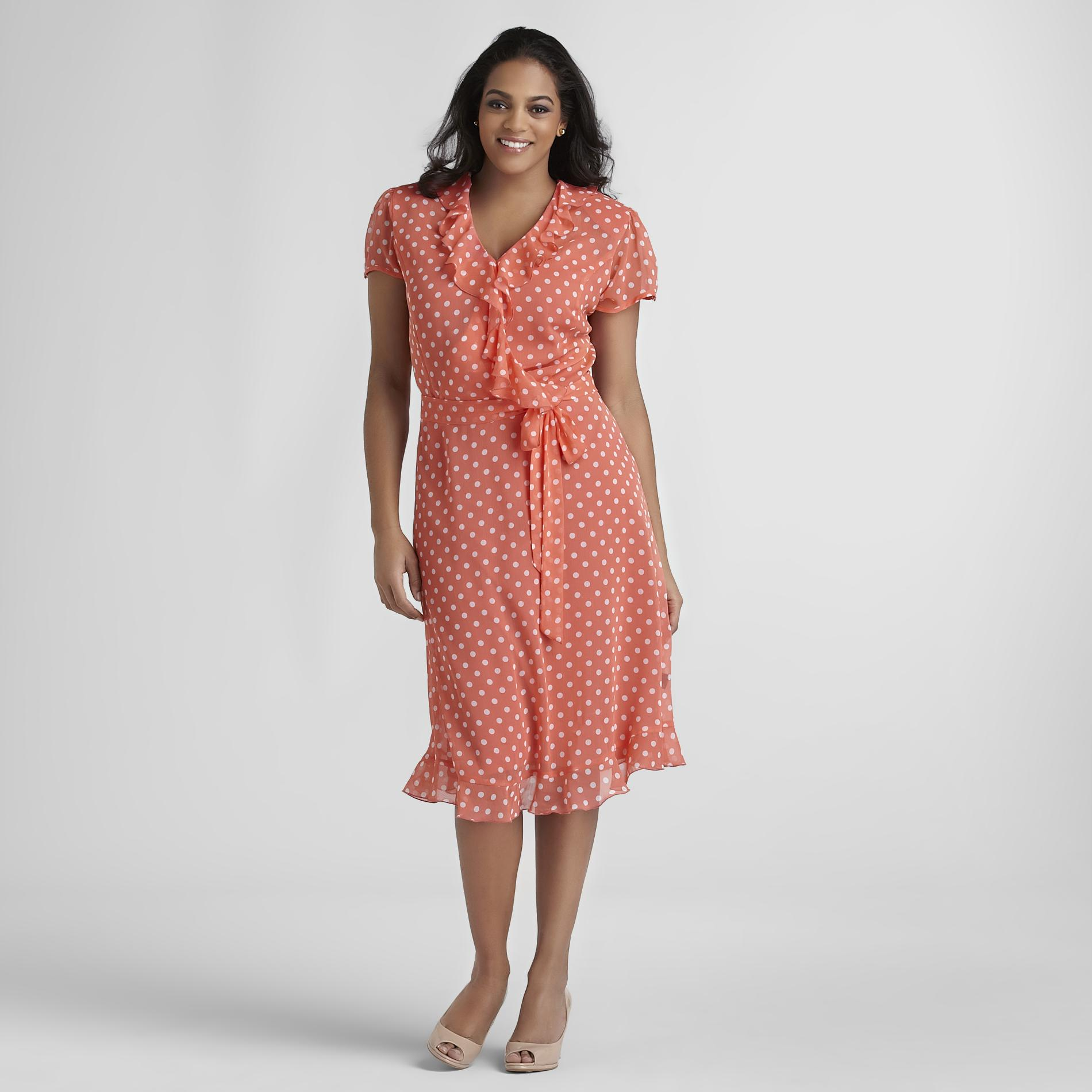 JBS Women's Plus Faux-Wrap Dress & Belt at Kmart.com