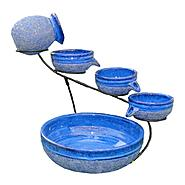 Smart Solar Ceramic Blueberry Solar Cascade Fountain with Rustic Blue Finish at Sears.com