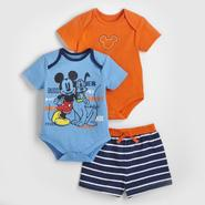 Disney Baby Mickey Mouse Infant Boy's Bodysuits & Shorts - 3 Pc. at Sears.com