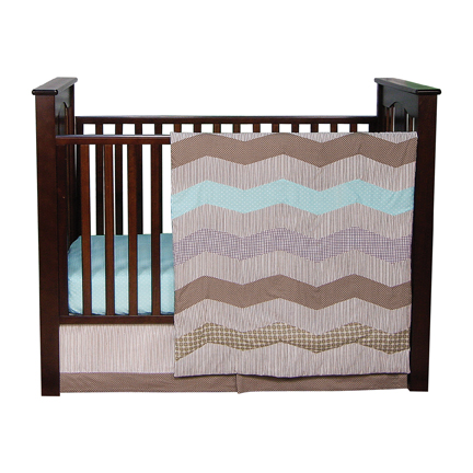 Trend Lab COCOA MINT - 3 PIECE CRIB BEDDING SET