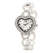 Sofia by Sofia Vergara Ladies' Silver-Tone Bangle Watch With Heart Shaped Dial, Crystals at Kmart.com