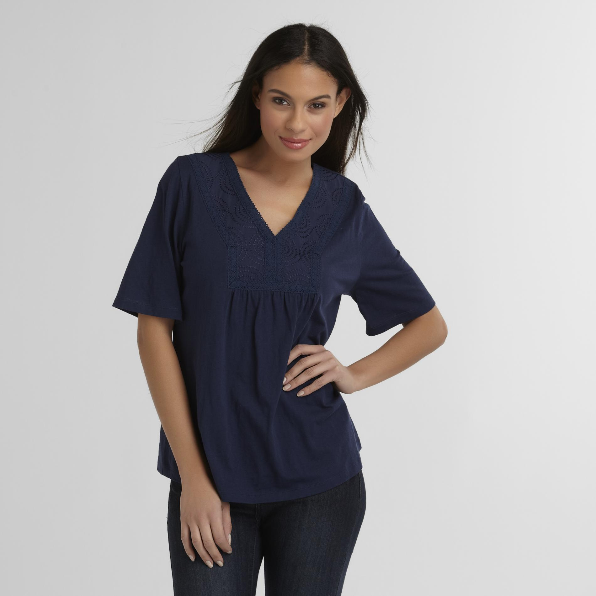 Classic Elements Women's Crochet-Neck T-Shirt at Sears.com