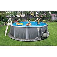 "Swim Time Martinique 27 ft Round 52"" Deep 7-in Top Rail Swimming Pool Package at Sears.com"