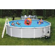 Swim Time Samoan 21 ft. Round 52 in. Deep 8-in Top Rail Metal Wall Swimming Pool Package at Sears.com