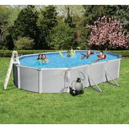 Swim Time Samoan 18 ft. x 33 ft. Oval 52 in. Deep 8-in Top Rail Metal Wall Swimming Pool Package at Sears.com