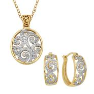 Fine Silver and Gold Over Bronze Diamond Accent Pendant and Earring Set at Kmart.com