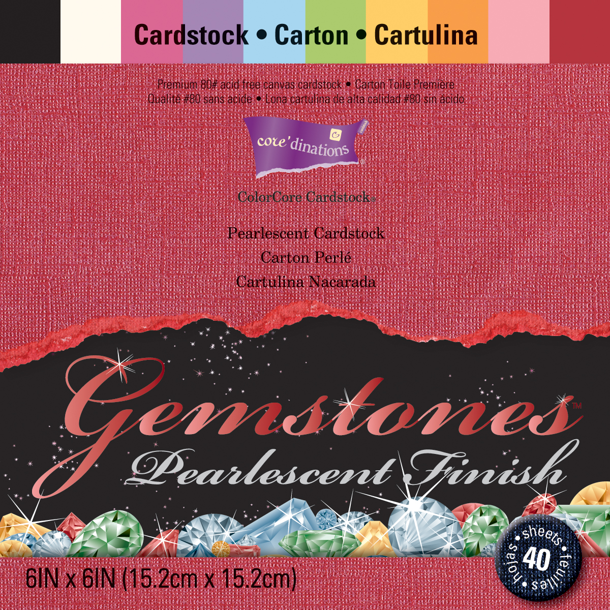 Core'dinations Gemstones Cardstock Pack 6