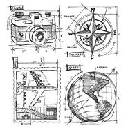 Tim Holtz Cling Rubber Stamp Set Travel Blueprint at Kmart.com