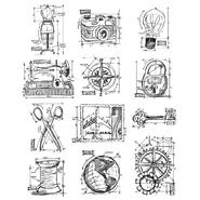Tim Holtz Large Cling Rubber Stamp Set Mini Blueprints 3 at Kmart.com