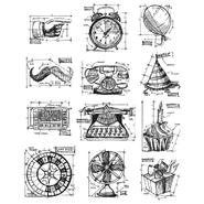 Tim Holtz Large Cling Rubber Stamp Set Mini Blueprints 4 at Kmart.com