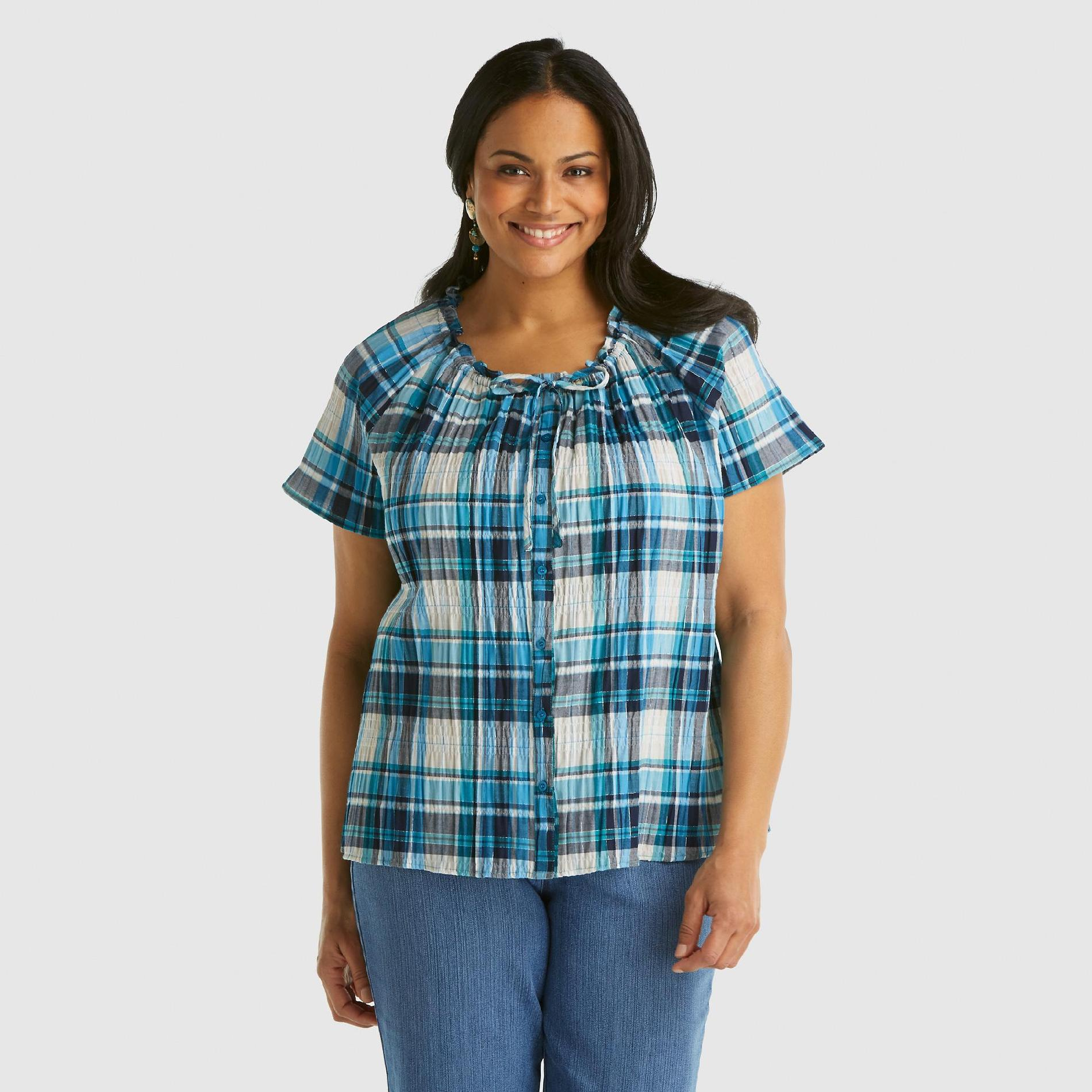 Laura Scott Women's Plus Gauze Top - Plaid Amaranth 16 plus size,  plus size fashion plus size appare