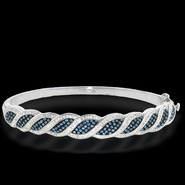 Shades Of Elegance Platinum Over Bronze Blue Crystal Kite Bangle at Sears.com