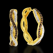 Chocolate Elegance Gold Over Bronze Chocolate And White Intertwined Hoops at Sears.com
