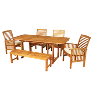 Walker Edison 6-Piece Acacia Wood Patio Dining Set with Cushions at Kmart.com