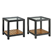 Walker Edison Glass Metal Coffee Tables with Wood Accents (Set of 2) at Kmart.com