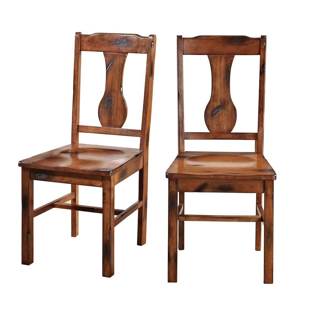Walker Edison Solid Wood Dark Oak Dining Chairs (Set of 2)
