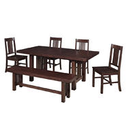 WalkerEdison Solid Wood 6-Piece Cappuccino Dining Set at Kmart.com