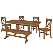 WalkerEdison Solid Wood 6-Piece Antique Brown Dining Set at Kmart.com