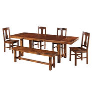 WalkerEdison Solid Wood 6-Piece Dark Oak Dining Set at Kmart.com