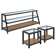 Walker Edison 60 in. Glass Metal TV Stand and Coffee Table Combo at Kmart.com
