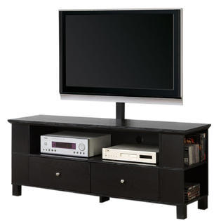 Walker Edison 60 in. Black Wood TV Stand with Mount and Multi-Purpose Storage