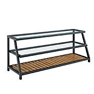 Walker Edison 60 in. Glass Metal TV Stand with Wood Accents at Kmart.com