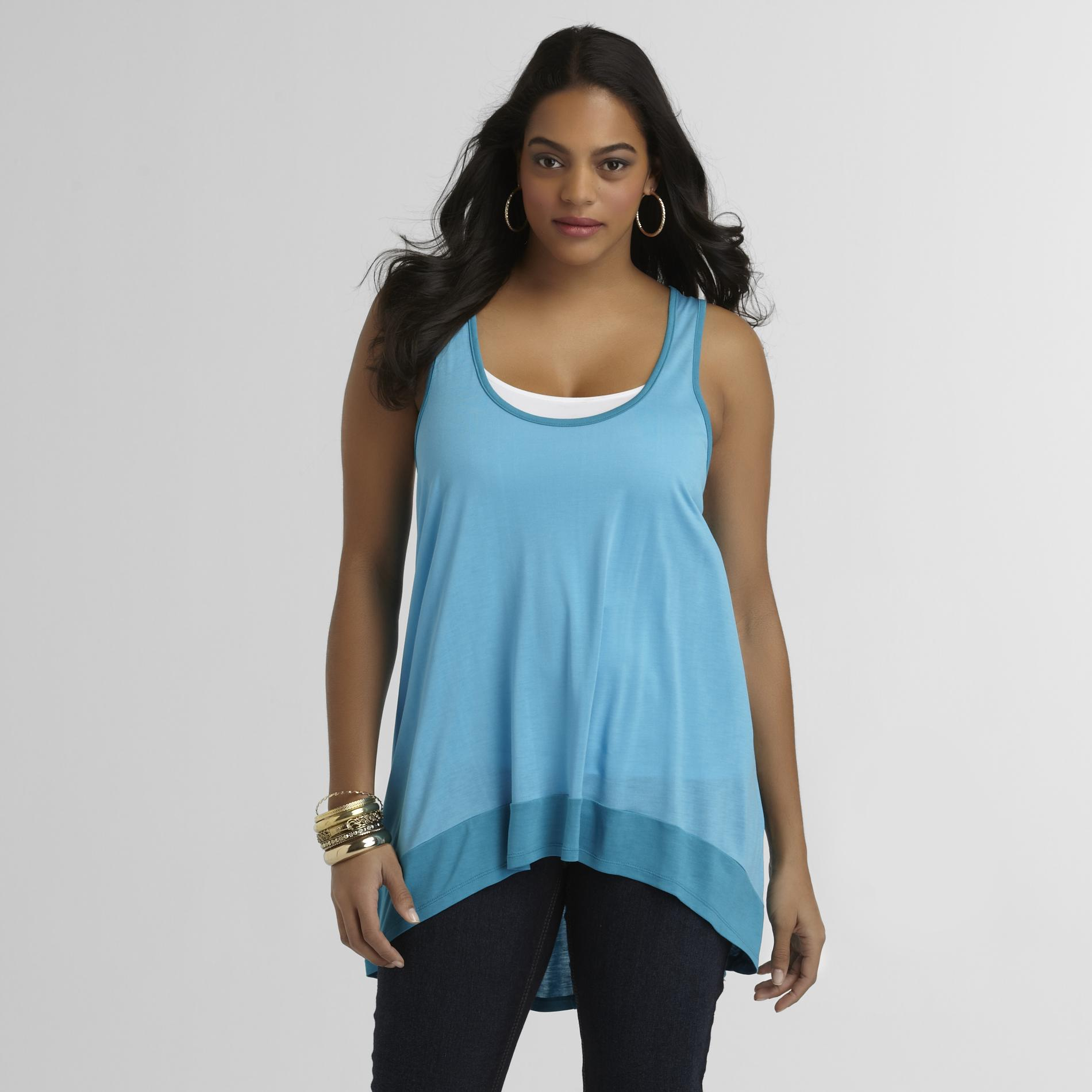 Love Your Style, Love Your Size Women's Plus High-Low Top - Colorblock at Kmart.com