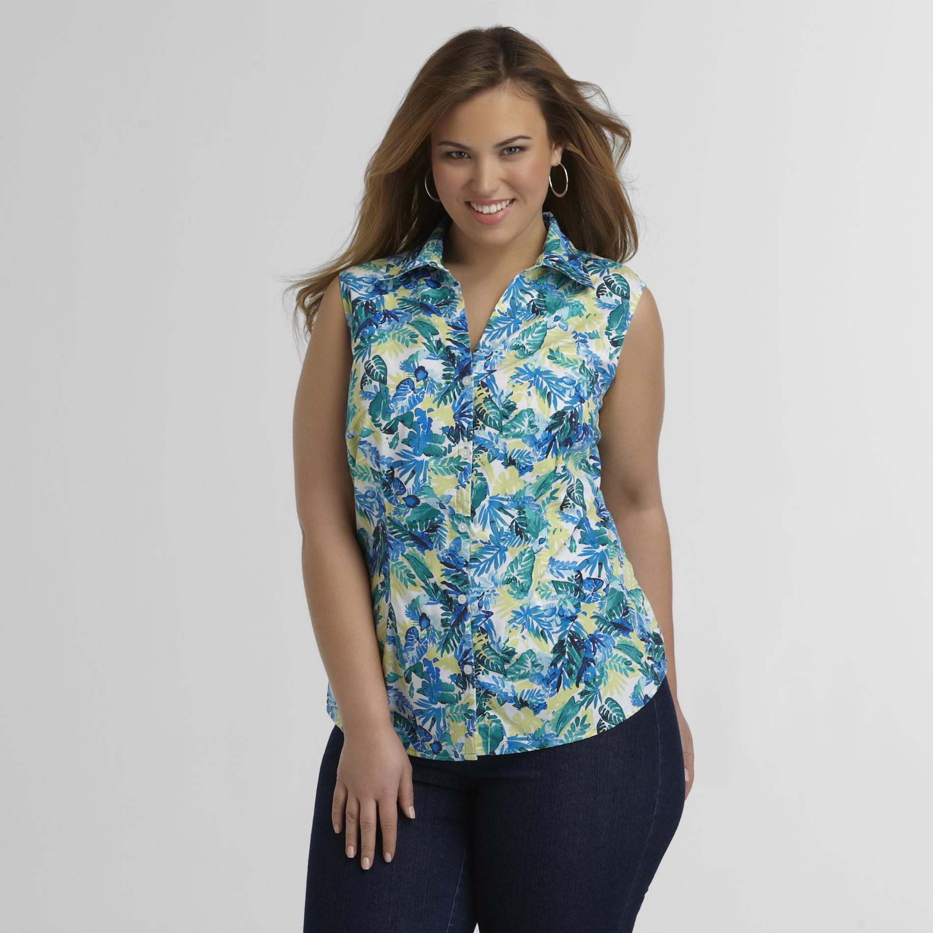 Basic Editions Women's Plus Sleeveless Shirt - Floral at Kmart.com