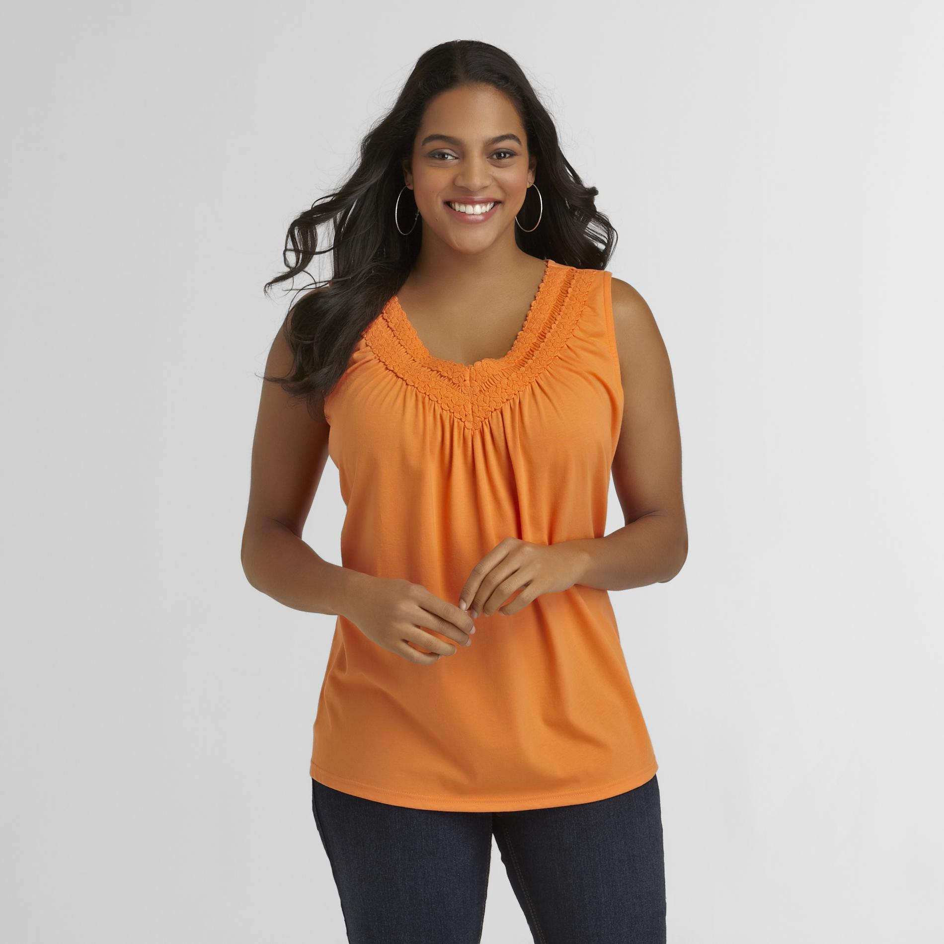 Basic Editions Women's Plus Crochet Tank Top at Kmart.com