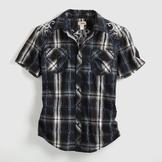 Route 66 Men's Plaid Shirt - Embroidered at mygofer.com