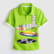 Toughskins Boy's Graphic Polo Shirt - Surf Boards at Sears.com