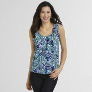 Basic Editions Women's Ruched Tank Top - Paisley at Kmart.com