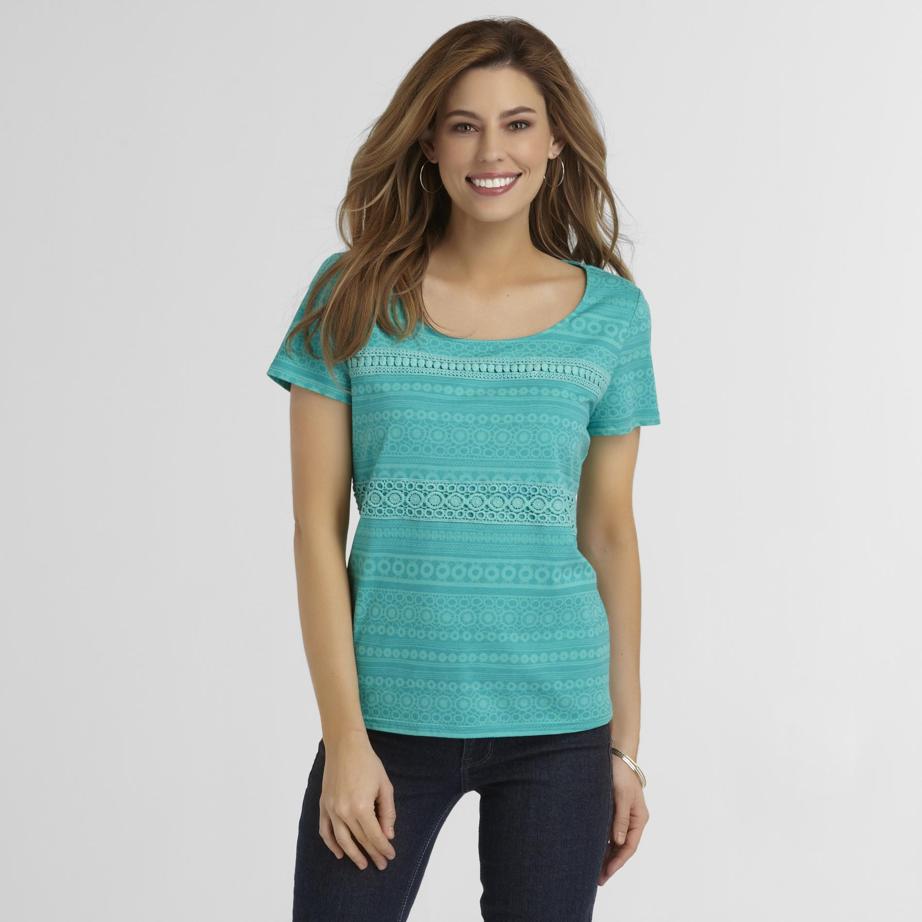 Basic Editions Women's T-Shirt - Eyelet at Kmart.com