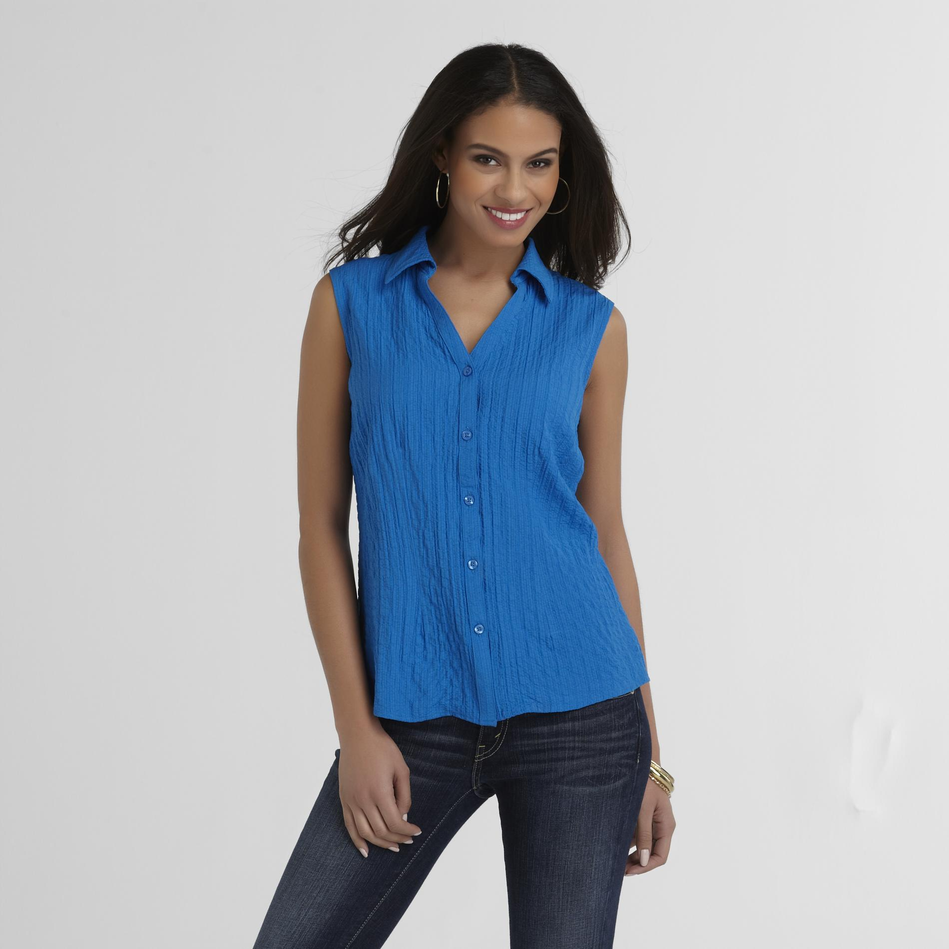 Basic Editions Women's Camp Shirt - Puckered at Kmart.com
