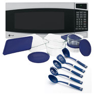 GE Countertop Microwave with Kitchen Utensils & Stora...