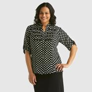 Kathy Che Women's Plus Military Blouse - Polka Dot at Kmart.com