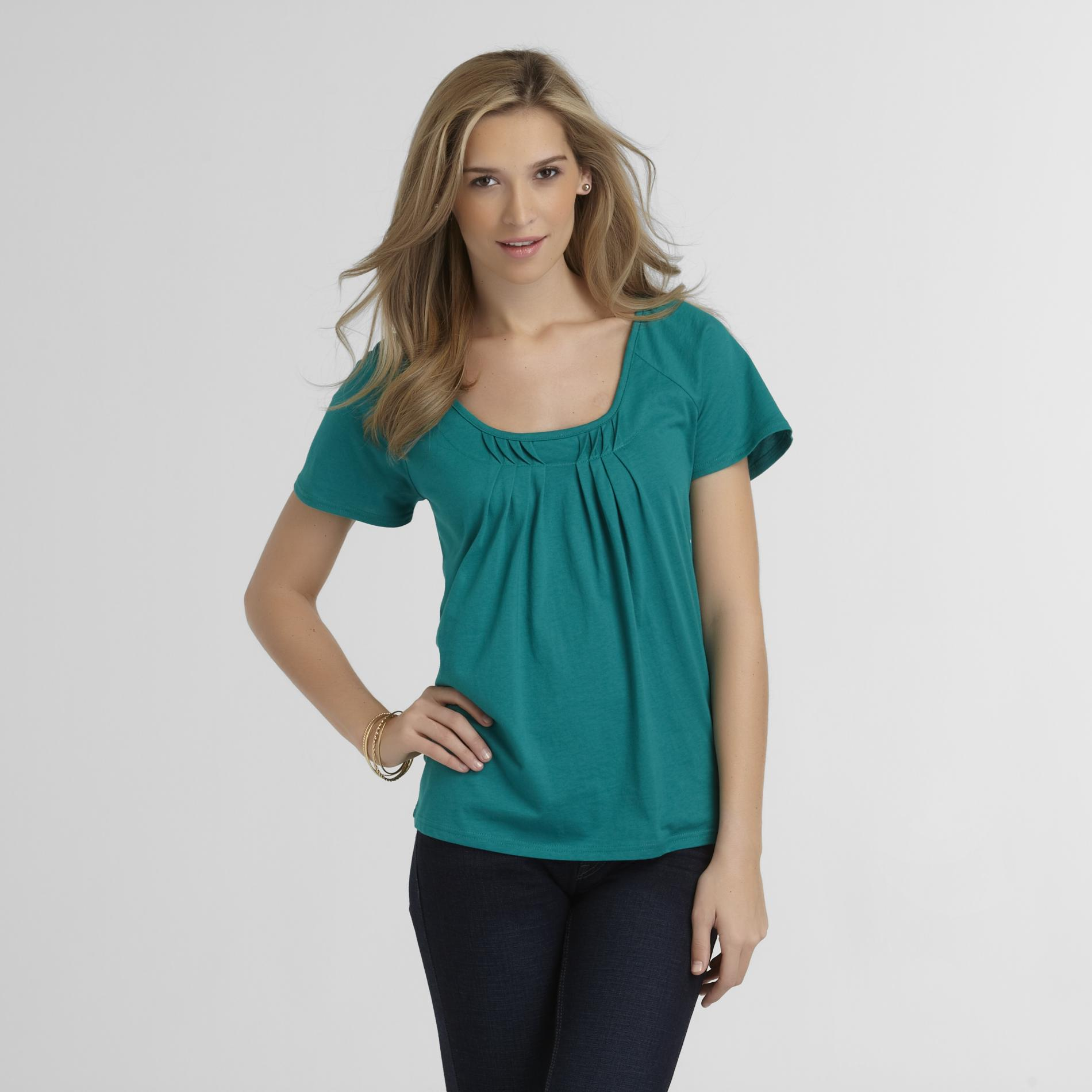Basic Editions Women's Pleated Short Sleeve Top at Kmart.com