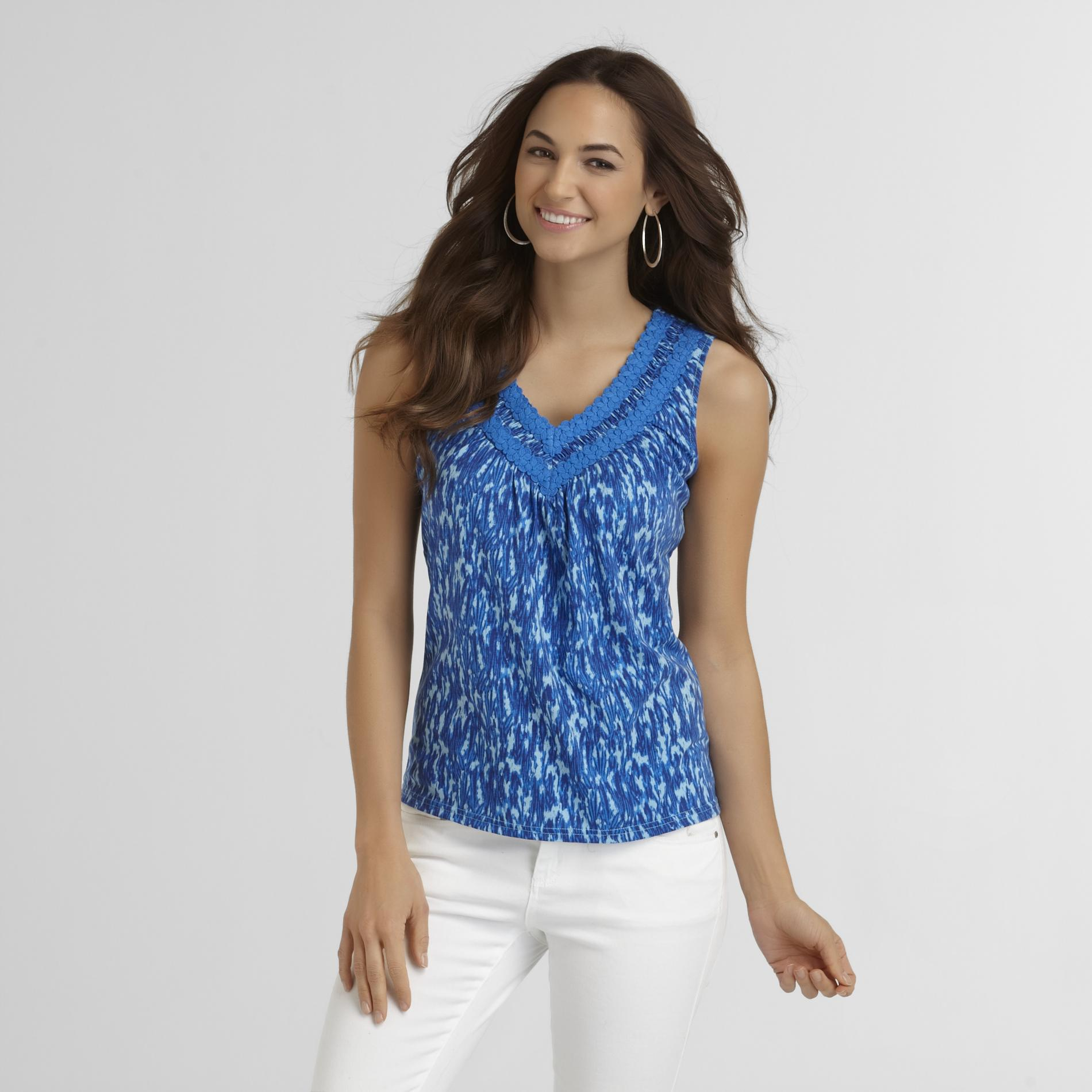 Basic Editions Women's Crocheted V-Neck Tank Top at Kmart.com