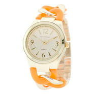 Sofia by Sofia Vergara Ladies' Gold & Orange Enamel Design Link Bracelet Watch w/ White Round Dial at Kmart.com
